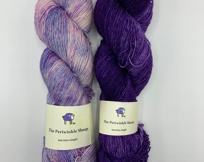 set of 2 skeins - merino single in ultraviolet and speckles no. 56