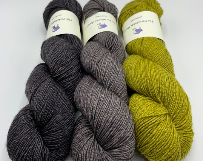 merino yak - trio of colors - slate, silver lining, canary