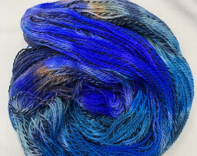 highland wool fingering - blue OOAK