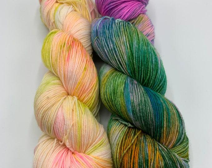 Set of 2 skeins - watercolors - speckles no. 39, OOAK multi color