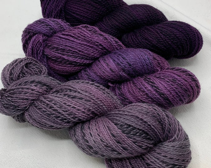 highland wool fingering - set of 3 skeins - aubergine, elderberry, new day new purple
