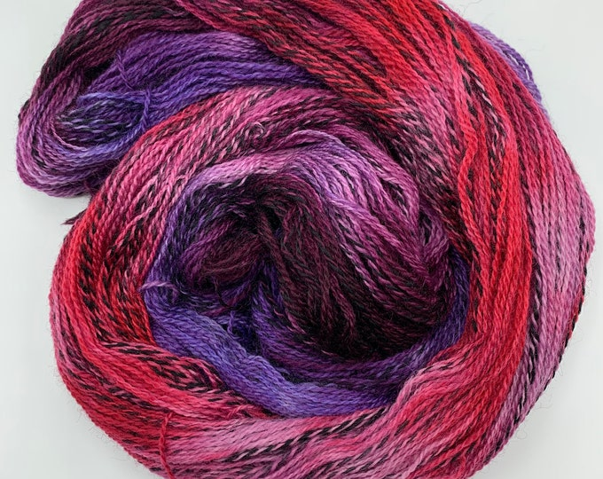 highland wool fingering - purples, pink, red