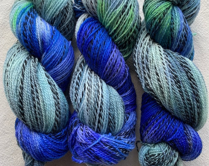 highland wool fingering - OOAK tadpoles and tide pools