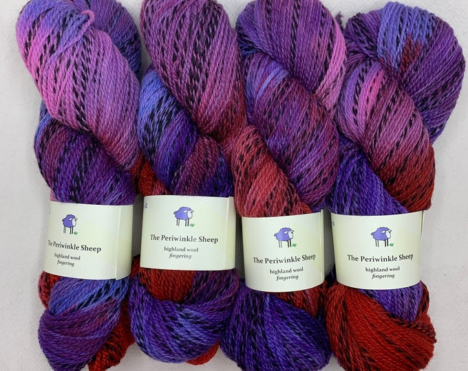 highland wool fingering - OOAK purple/red/blue/pink