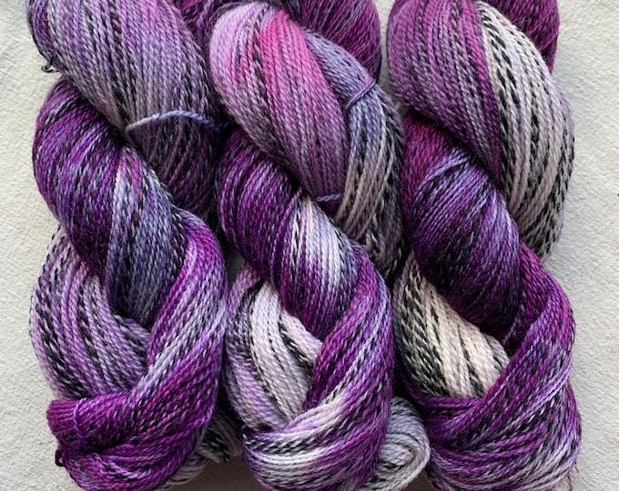 highland wool fingering - OOAK lilacs and violets