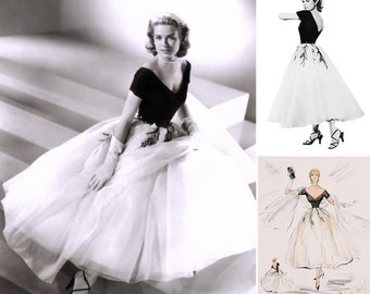 8b0b6eb38cea 1950s Grace Kelly Dress from Rear Window... Gorgeous near-Replica with FULL  Tulle Layered Skirt...Vintage Wedding   Hollywood Party.