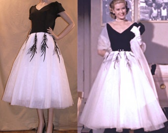 1950s Grace Kelly Dress from Rear Window... Gorgeous interpretation with FULL Tulle Layered Skirt...Vintage Wedding / Hollywood Party...