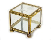 Vintage Glass and Brass Display Box - Clear, Mirror Base, Hinged Lid, 4 Sided, Square, Etched Floral Design, Brass Feet