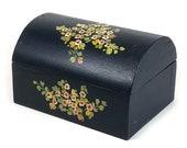Hand-Painted Wood Box, Dark Navy Blue, Domed Lid, Hand Painted Flowers, Trinket Box, Hinged Lid