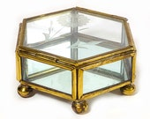 Vintage Small Glass and Brass Display Box - Hinged Lid, 6 Sided, Brass Feet, Mirrored Base, Etched Flower in Lid