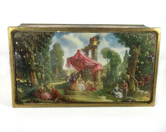 Heavier Tin Constructions Vintage Tin Antique Looking Landscape on Lid 1940s or 1950s