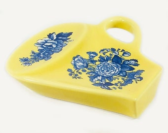 Vintage Spode Blue and Yellow Tea Rest / Spoon Rest (4 Available)
