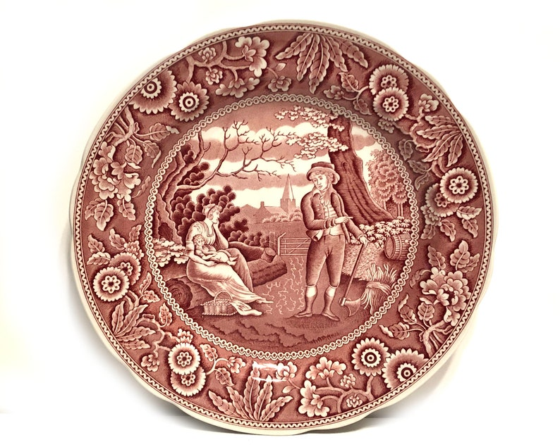 Spode Archive Collection Woodman Cranberry and White China Vintage Spode 10 38 Dinner Plate