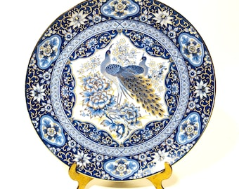 Vintage Peacocks Plate, Pale Blue, Royal Blue, Gold and White, Salad Plate Size