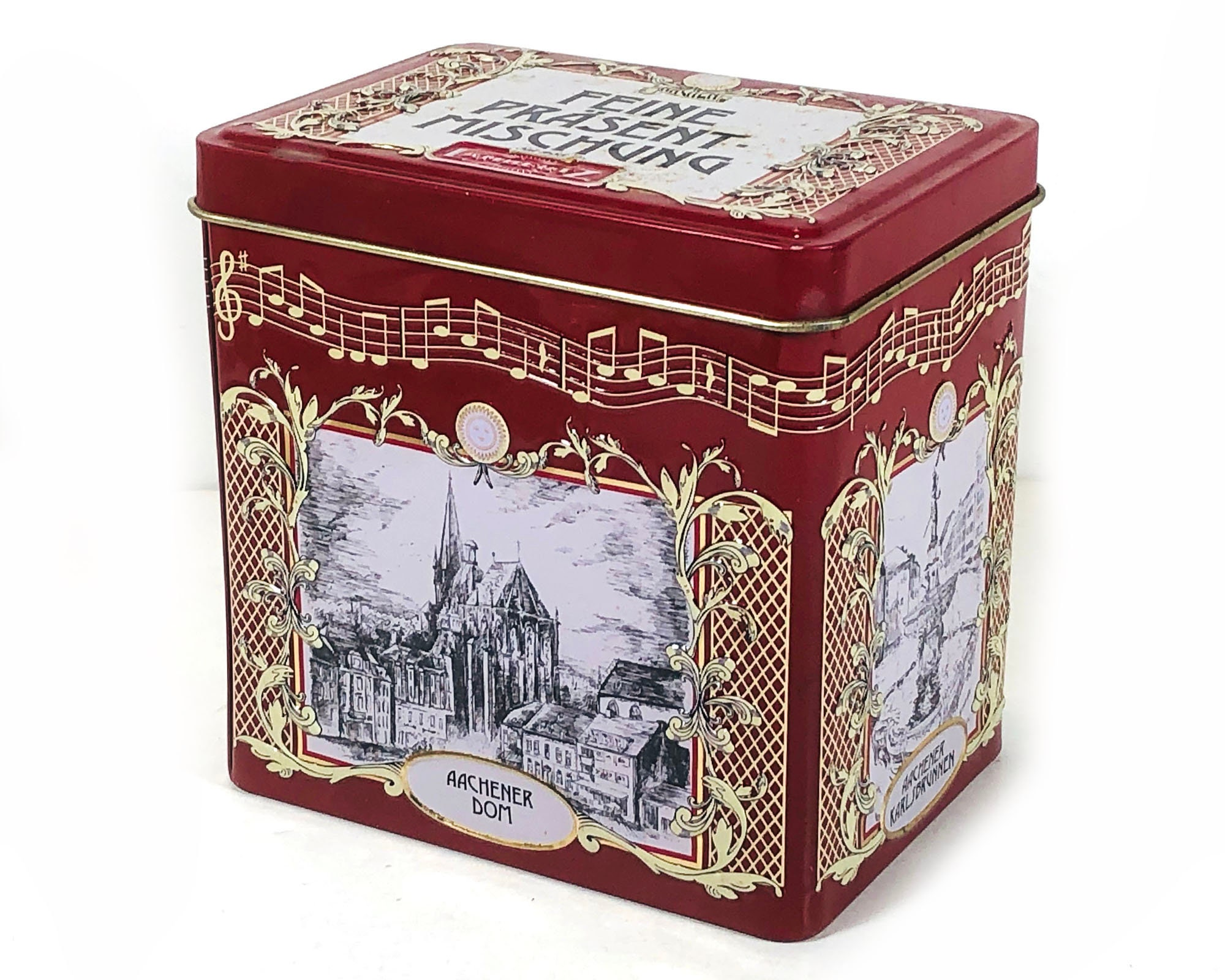 Tannenbaum Aachen.Vintage German Cookie Tin Music Box Oh Christmas Tree Lebkuchen Tin Perfect For Holiday Gift Giving