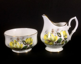 Vintage Creamer and Open Sugar Bowl, - White with Yellow Flowers, Gold Trim by Bluebird China, Made in Canada