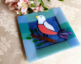 Robin fused glass plate by YafitGlass