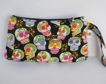 Coraline Clutch - Sugar Skulls Wristlet - Skull Clutch - Skull Wristlet - Alexander Henry Fabric