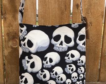 Skull Crossbody Bag - Out of Print Alexander Henry Fabric