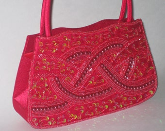 d1f2042426a2 Bijoux Terner Red Beaded Sequin Evening Bag Handbag Shoulder Valentine Old  Stock Vintage
