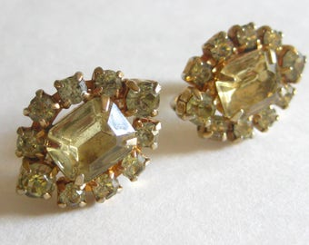 c8da1a090 By Gale Earrings Signed Clear Rhinestone Vintage FREE SHIPPING