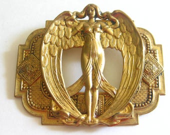 Art Nouveau Deco Revival Brooch Large Metal Bronze Goddess Mid Century Vintage
