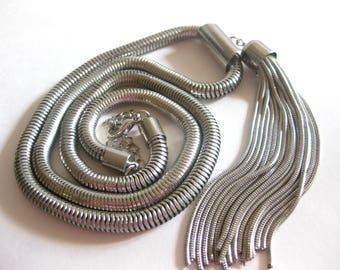 "Snake Chain Tassel Lariat Necklace Metal 30"" Silver Tone Vintage"
