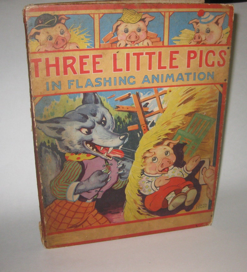 Three Little Pigs in Flashing Animation 1944 Vintage Free Shipping