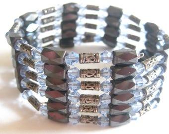 "Hemitite Magnetic Beaded Bracelet Necklace Ice Blue 37"" Adjustable"