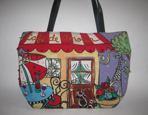 9312799a1df9 Cafe de Amour Handbag Purse Paris Poodle Sequins Handpainted