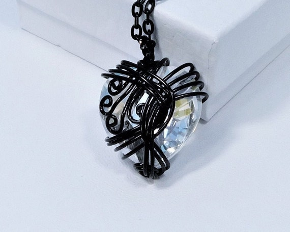 Black Wire Wrapped Crystal Heart Necklace, Unique Artisan Crafted Jewelry, Artistic Handmade Wearable Art Heart Pendant Present for Women