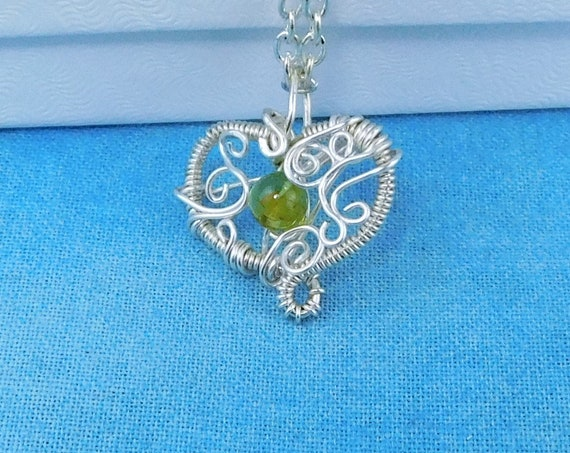 Wire Wrapped Peridot Pendant August Birthstone Necklace, Artistic Heart Shaped Wearable Art Jewelry Birthday Present or Mother's Day Gift