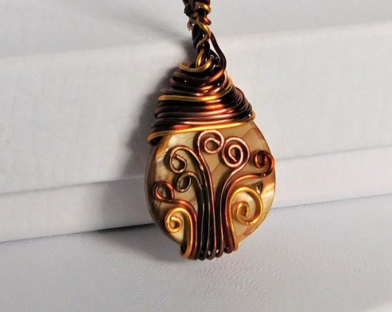 Unique Copper Wire Wrapped Pendant, Artisan Crafted Mother of Pearl Necklace, Artistic Handmade Jewelry, Gift for Wife, Girlfriend, Daughter