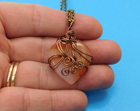 Wire Wrapped Carnelian Pendant, Unique Gemstone Heart Necklace, Artisan Crafted Artistic Stone Jewelry Handmade Present Ideas for Women