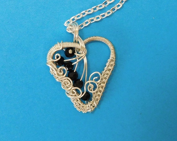 Woven Wire Wrapped Heart Necklace with Black Crystals, Unique Artisan Crafted Pendant, One of a Kind Wearable Art Jewelry Birthday Present