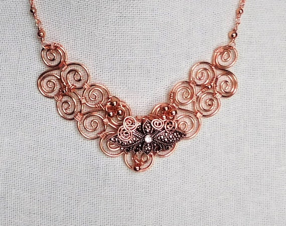 Copper Scroll Work Bib Necklace, Unique Wire Wrapped Statement Jewelry, One of  a Kind Artisan Crafted Wearable Art, Artistic Present
