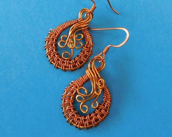 Rustic Boho Earrings Unique Wire Wrap Jewelry for Girlfriend Gift Hand Woven Copper Artistic Handmade Wearable Art Present Ideas for Women