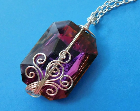 Purple Statement Necklace, Unique Wire Wrapped Pendant, One of a Kind Handmade Wearable Art, Artisan Crafted Jewelry Present Ideas for Women