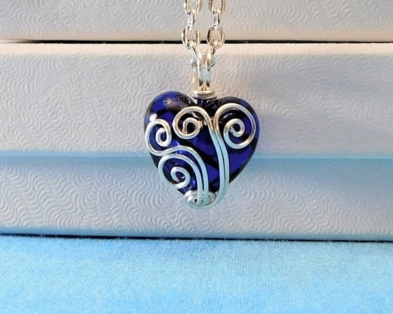 Wire Wrapped Blue Heart Pendant, Small Handmade Heart Necklace, Artistic One of a Kind Jewelry Anniversary Gift for Wife or Girlfriend