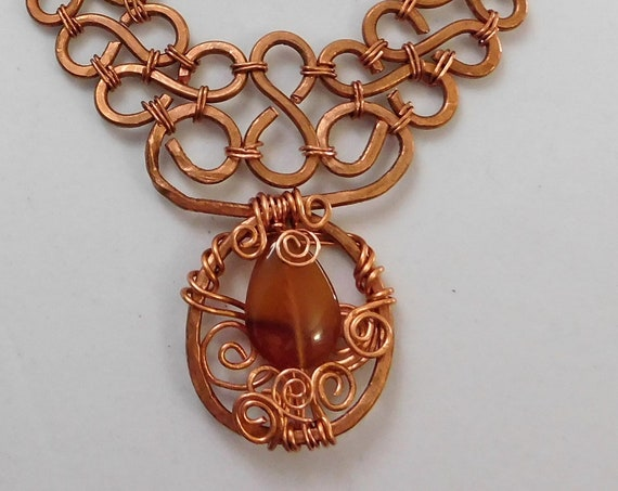 Unique Wire Wrapped Carnelian Necklace, Artisan Crafted Gemstone and Copper Statement Jewelry, One of a Kind Wearable Art Present Ideas