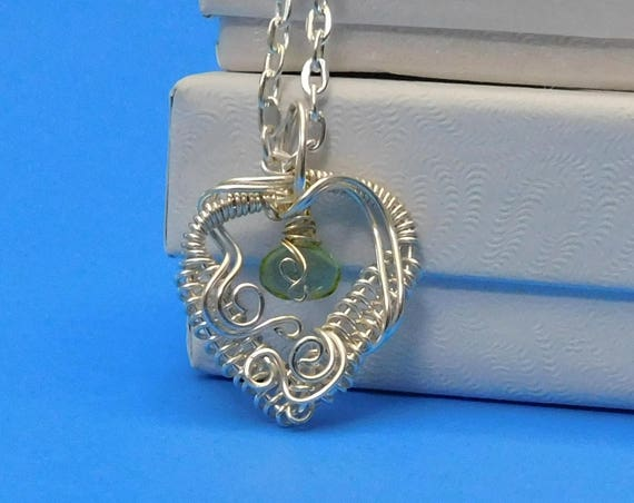 Unique Woven Wire Wrapped Peridot Necklace, Heart Shaped Gemstone Pendant, August Birthstone Jewelry, One of a Kind Handcrafted Wearable Art