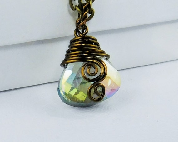Small Wire Wrapped Aurora Borealis Crystal Necklace, Unique Artistic Handmade Crystal Pendant, One of Kind Wearable Art Jewelry Present