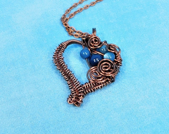 Rustic Copper Heart Necklace, Artisan Crafted Woven Wire Wrapped Pendant, Handcrafted Wearable Art Jewelry Gift for Wife or Girlfriend