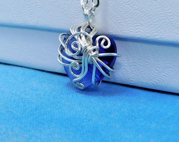 Blue Crystal Heart Necklace, Wire Wrapped Heart Pendant for Anniversary Gift or Birthday Present for Wife or Girlfriend, Artistic Jewelry