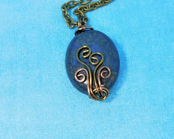 Copper Wire Wrapped Lapis Lazuli Pendant, Artistic Blue Gemstone Necklace Unique 9th Anniversary Gift, Wearable Art Jewelry Present for Wife