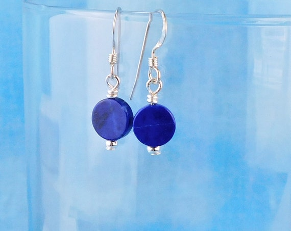Simple Lapis Lazuli Earrings, Round Blue Gemstone Pierced Dangle Earrings for Ladies, Handmade Jewelry Gift for Wife, Mom or Girlfriend