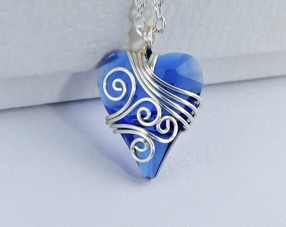 Unique Wire Wrapped Blue Heart Necklace, Artisan Crafted Crystal Pendant, Artistic Handmade Jewelry for Birthday or Anniversary Present Idea