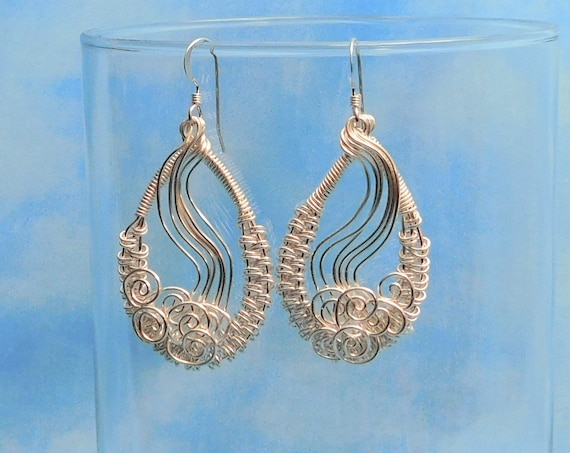 Woven Wire Loop Dangle Earrings Unique Wire Wrapped Jewelry Artisan Crafted Artistic Handmade Wearable Art Birthday Present Ideas for Women