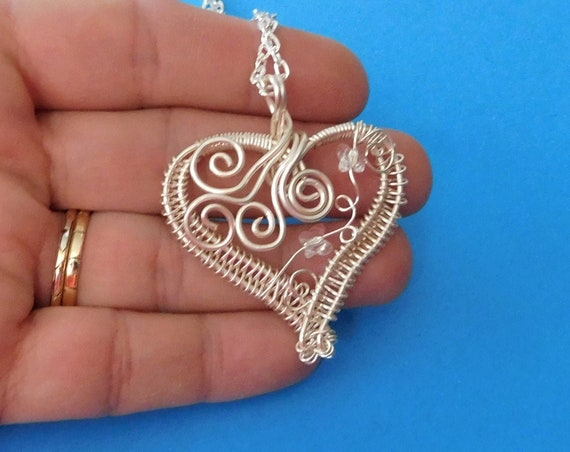 Woven Wire Wrapped Butterfly Necklace with Swarovski Crystal Butterflies, Artisan Crafted Heart Pendant, Unique Ladies Jewelry Present Idea