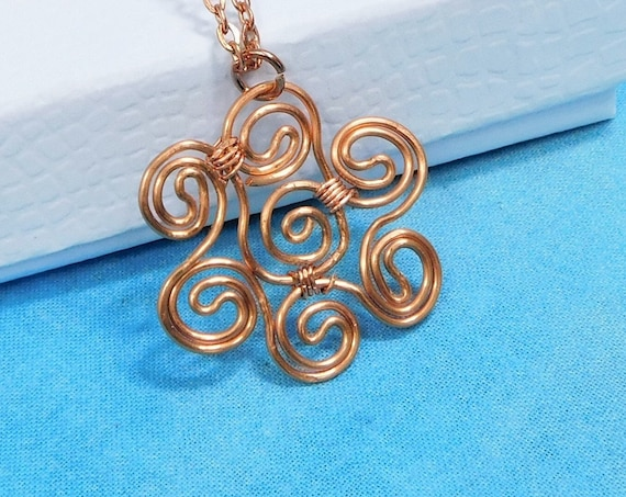 Copper Flower Necklace, Artisan Crafted Flower Jewelry, Simple Sculpted Wire Art Pendant, One of a Kind Artistic Copper Wire Jewelry